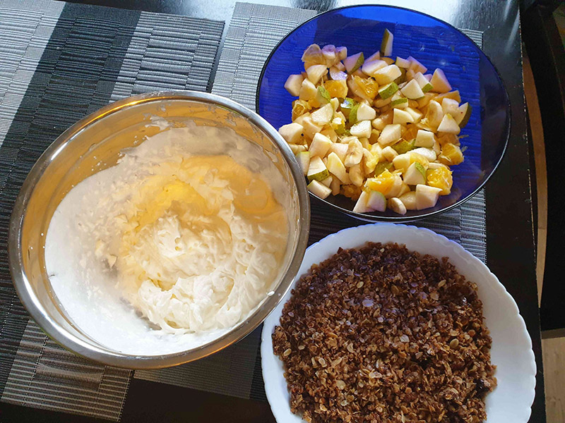 Baking ingredients, dought, fruits and nuts.