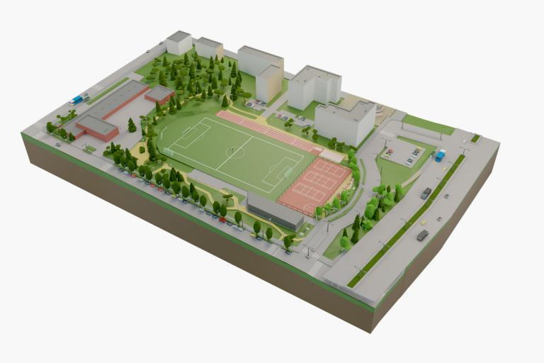 3D-model of the Puotila sports track in Helsinki.